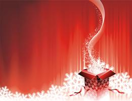Vector Christmas illustration with gift box on red background.