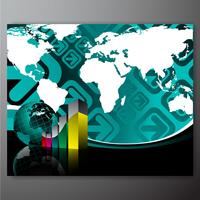 Business illustration with world map on blue background.