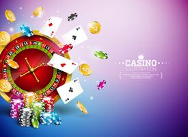 Casino Illustration with roulette wheel, falling coins, & playing chips