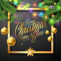 Frohe Weihnachten Illustration auf schwarzem Hintergrund