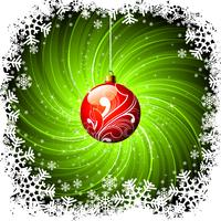 Christmas illustration with shiny red glass ball on grunge green background.
