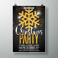 Merry Christmas Party Poster Design Template