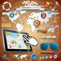 Vector summer travel infographic set with world map and vacation elements.