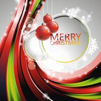 Vector Christmas illustration with red glass balls on text space