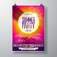 Vector Summer Beach Party Flyer Design avec des éléments typographiques sur fond de paysage océanique.