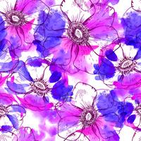 Hand painted watercolor  anemone seamless