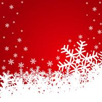 Weihnachtsabbildung mit Schneeflocken auf rotem Hintergrund.