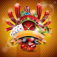 Vector illustration on a casino theme with roulette wheel and ribbon