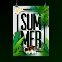 Summer Holiday typographic illustration on white background