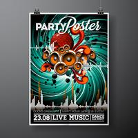 Party Flyer Illustration per un tema musicale con altoparlanti e palla da discoteca.