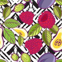 Tribal and Sweet berries seamless  vector