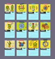 Calendar of cacti, succulents vector