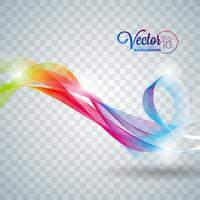 Elegant vector flowing color wave design on transparent background.