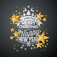 Christmas and New Year illustration with typography