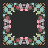 "tea flower wreath frame  ""time for tea"""