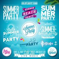 Vector Summer Beach Party Typography Illustration set with signs and symbols