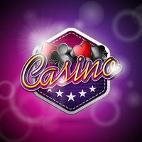 Vector Illustration auf einem Kasinothema mit Pokersymbolen und glänzenden Texten
