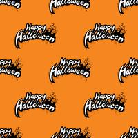Happy Halloween seamless pattern illustration with cemetery on orange background.