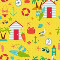 Seamless pattern with flat travel icons