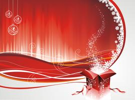 Vector Christmas design with gift box on red background.