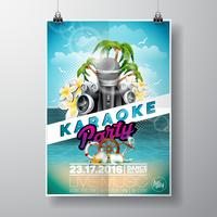 Vector Flyer illustrazione su un tema di Summer Karaoke Party con microfoni