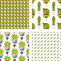 Set Seamless pattern of cacti and succulents in pots.