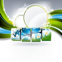 Vector background on a spring theme with nature cubes.