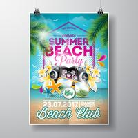 Vector Summer Beach Party Flyer Design con elementos tipográficos en el paisaje del océano