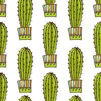 Seamless mönster av kaktusar och succulenter i krukor. I handritad stil.