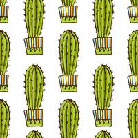 Seamless pattern of cacti and succulents in pots. In the hand drawn style.