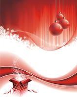 Vector Christmas illustration with gift box on red background