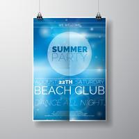 Plantilla del cartel del aviador del partido del vector en tema de la playa del verano con el fondo brillante abstracto.