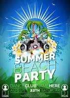 Vector Summer Beach Party Flyer diseño con altavoces