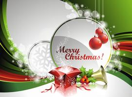 Vector Christmas illustration with gift box and text space on green background.