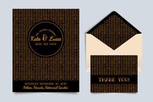 Bruiloft uitnodigingskaart Art Deco
