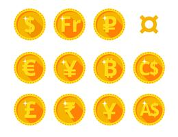 Gold icons of the world currency