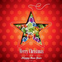 Vector Christmas illustration with abstract star design and holiday elements