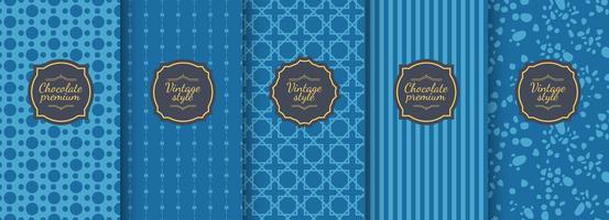 Set van blauwe vintage naadloze achtergronden voor luxe verpakking ontwerp.
