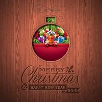 Engraved Merry Christmas and Happy New Year typographic design with holiday elements