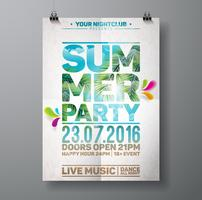 Vector Summer Beach Party Flyer Design with palm leaves