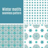 Set seamless  pattern of snowflakes