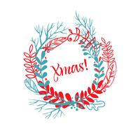 Wreath of hand drawn xmas