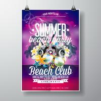 Vector Summer Beach Party Flyer Design con elementos tipográficos y musicales