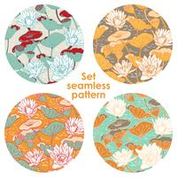 Elegant Water Lilies, Nymphaea seamless floral pattern