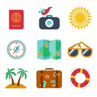 Icons of travel, summer in the flat style vector