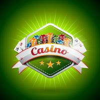 Vector illustration on a casino theme with poker card and chips.