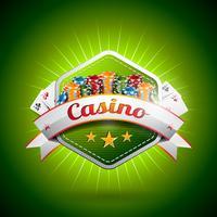 Vector a ilustração em um tema do casino com cartão e microplaquetas do póquer.