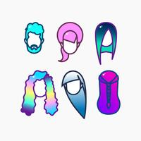 Dyed hair icon set.