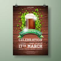 Saint Patrick's Day Party Flyer Illustration with Fresh Dark Beer and Clover