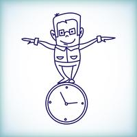 cartoon businessman, time management